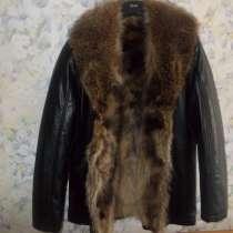 Кожаная куртка Италия мех волка Новая, в Москве