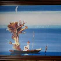Картина Воржева С. Д, мальчик в лодке, подлиник, в Краснодаре