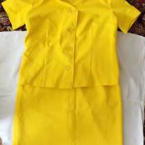 Костюм-двойка, юбка с кофтой, кримпленовый, желтый, р.46-48, в г.Брест