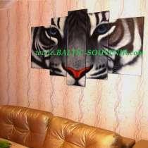 Белый тигр, 200х100см, Модульная картина маслом, в Москве
