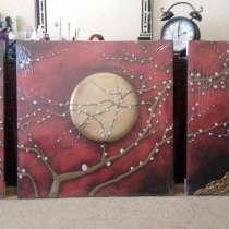 Настенное панно триптих из натуральной кожи 160х80см, в г.Баку