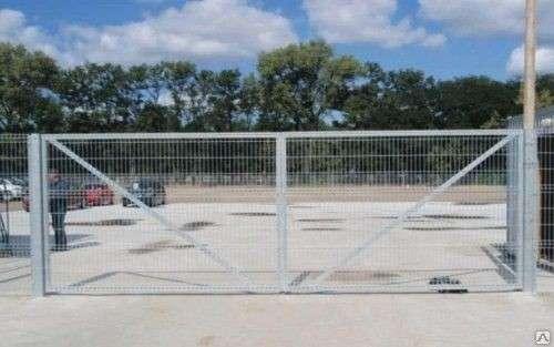 Ворота распашные из сварной 3Д сетки 2030х4000х4 мм Цинк