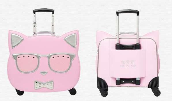 Детский чемодан на колесах с сумкой Кошка розовый в Мытищи фото 4