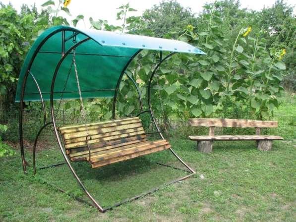 Садовые, разборные качели с козырьком