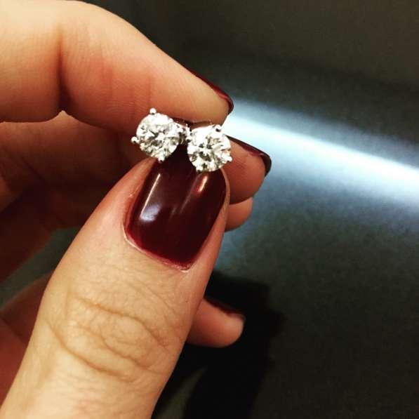 Пусеты с бриллиантами 1.55 карат!