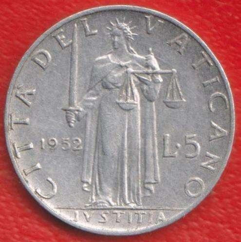 Ватикан 5 лир 1952 г