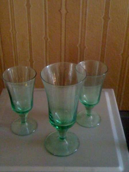 6 фужеров зеленого стекла