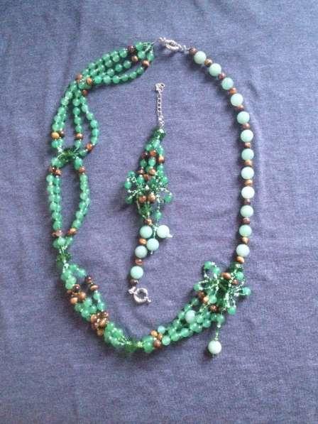 Авторские бусы и браслет из натуральных камней