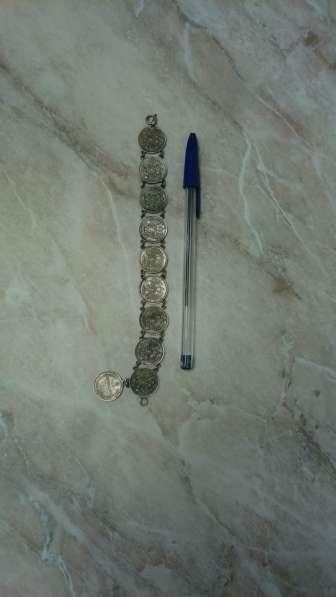 Браслет старинный. Царские монеты. Серебро