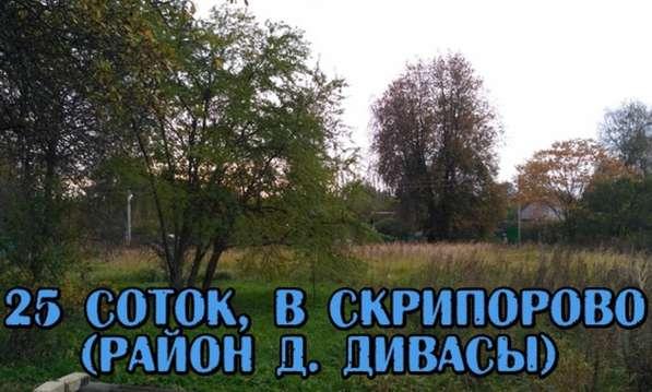 Участок 25 соток, в д. Скрипорово(Дивасы), с коммуникациями