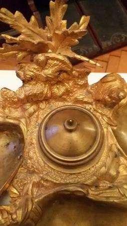 """Чернильный прибор""""Ракушки"""",кон.XIXв.литьё-бронза,золочение,работа-штихель, размер- 27смх22см."""