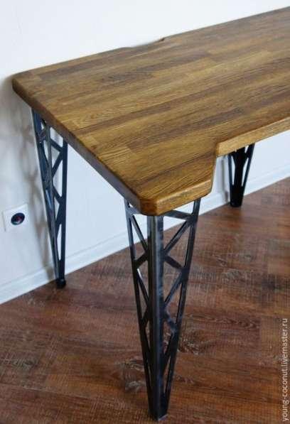 Стол металл и дерево (1000х500х600)