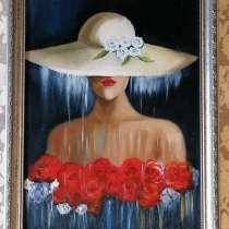 Картина маслом интерьерная Дама в шляпе (фея дождя) живопись, в Москве