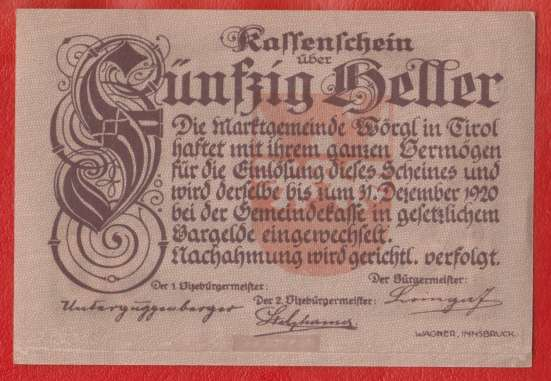 Австрия Вёргль нотгельд 50 геллеров 1920 г.