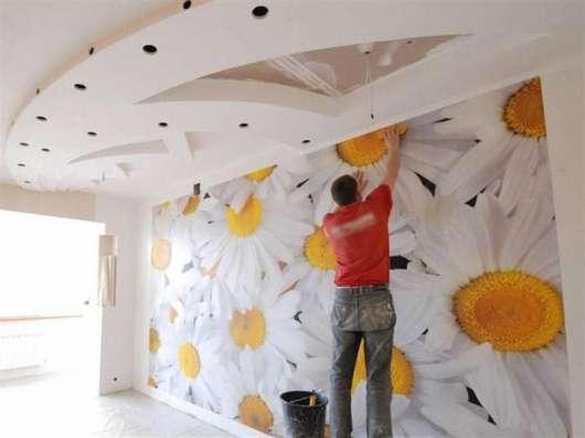 Оклейка обоями стен покраска ремонт малярные работы Поклейка