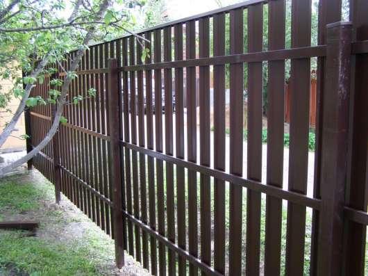 ЕВРОзабор. Забор из профлиста. Столбы оцинкованные. Штакетни