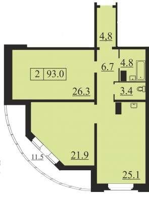 Шикарная двухкомнатная квартира 104 кв. м. в Северной Регате