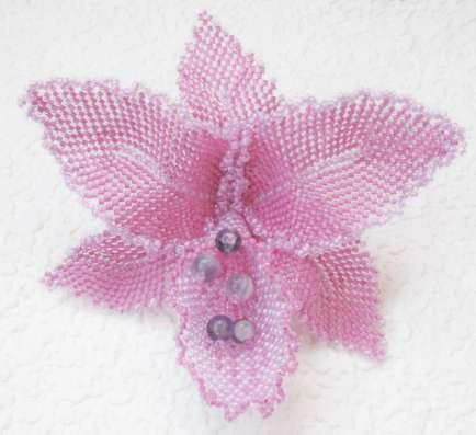 """Лариат с брошью """"Орхидея Брусничная """". Жгут"""