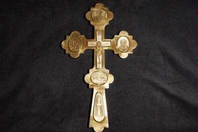 Крест напрестольный серебряный. 1884 год мастерская Шелапутина Дми