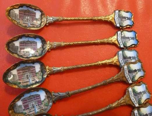 Ложки чайные набор 6 шт. Моссовет Москва медь эмаль позолота