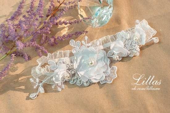 Свадебная ажурная подвязка невесты, из кружева с цветами