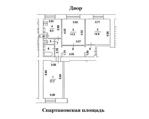 ЦАО. м. Бауманская. Продам 1 комнату в 3-х комн в Москве Фото 1
