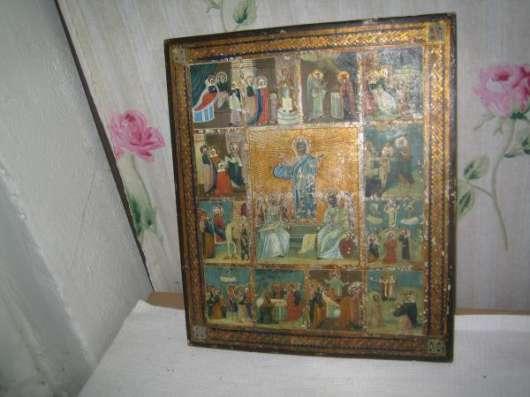 Старинную икону-Праздники Господни-XIXв.темпера в Москве Фото 1