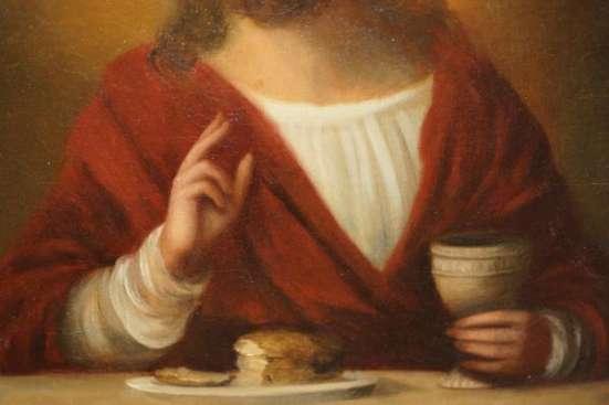 Икона «Преломление хлебов». Холст, масло. Россия, конец XVIII века.