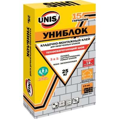 Клей для газосиликатных блоков юнис Униблок, 25 кг
