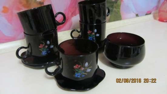Продам чайный набор из темного стекла