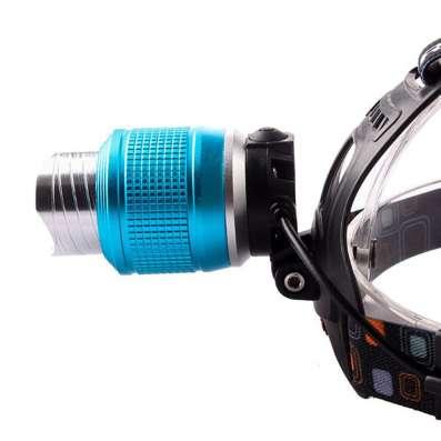 Налобный фонарь Boruit с зумом черный с голубым