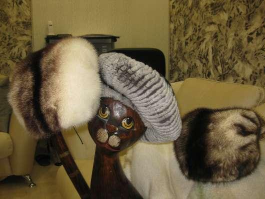 Норковые шапки 2шт.+мягкий бирет из кролика